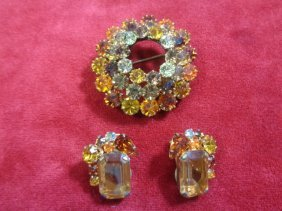 Set of 3 Vintage 1950' Custom brooch Pin and earring