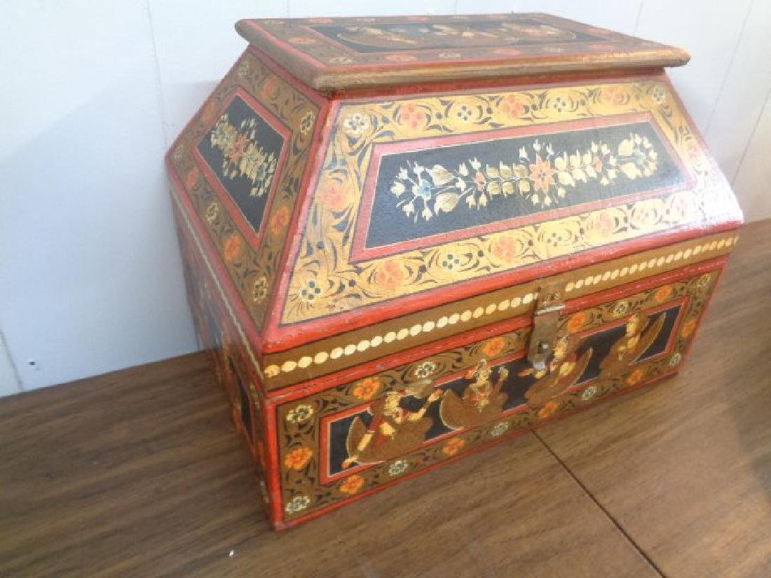 Hand Painted Rajasthani Large Wooden Box - 4