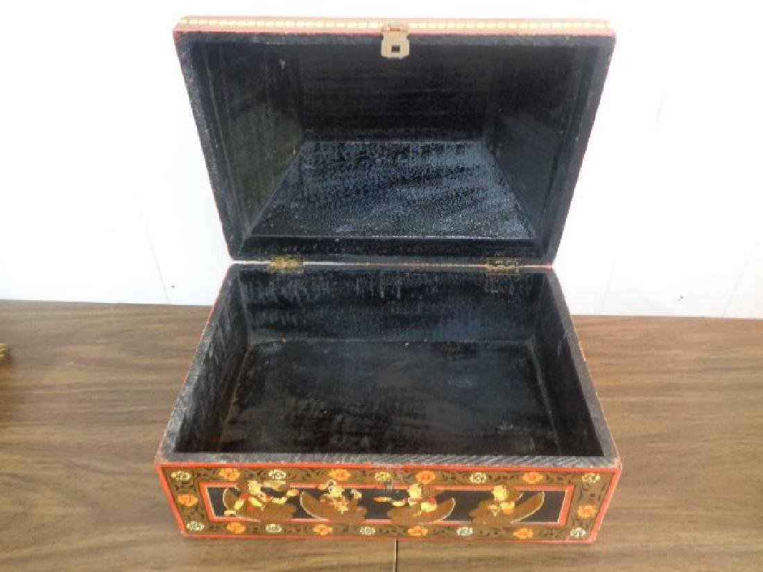 Hand Painted Rajasthani Large Wooden Box - 5