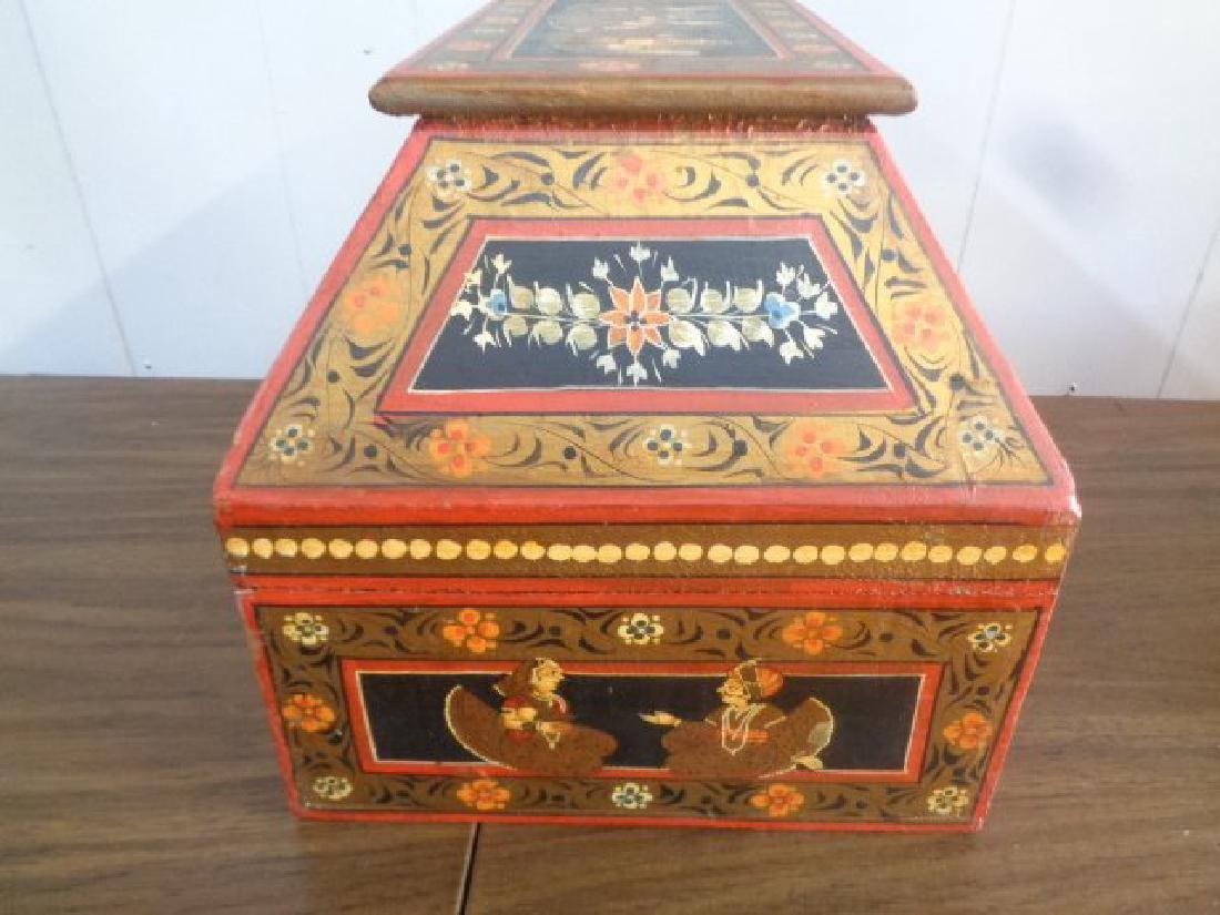 Hand Painted Rajasthani Large Wooden Box - 6