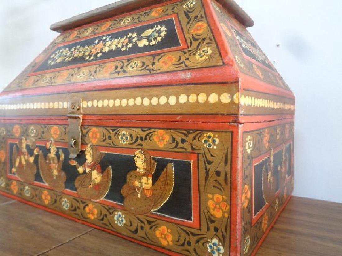 Hand Painted Rajasthani Large Wooden Box - 9