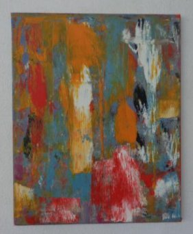 Modern Abstract Painting on Canvas Signed, Painting