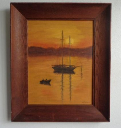 A. Wood Original Vintage oil painting on canvas board