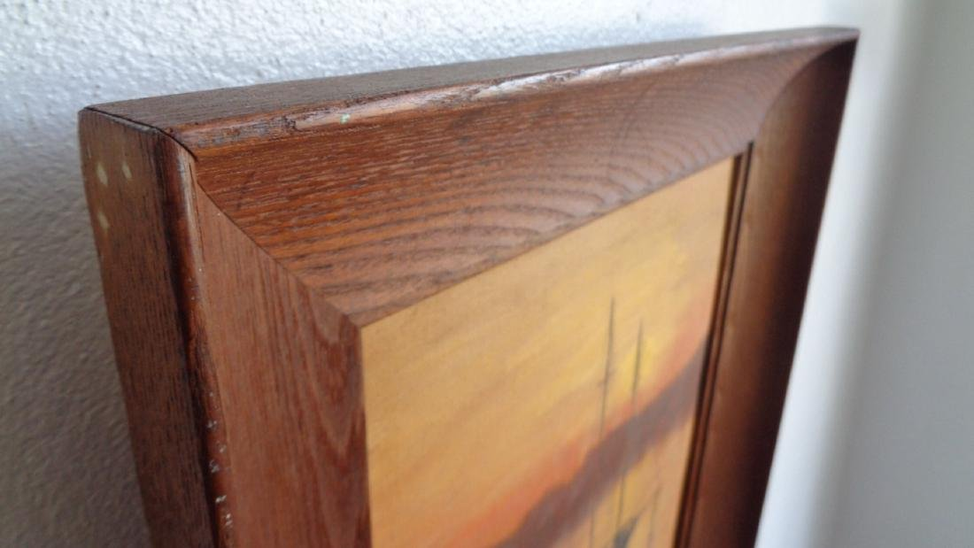A. Wood Original Vintage oil painting on canvas board - 5