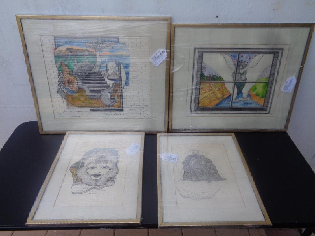 Lot of 4 Original Ink-Watercolor - Signed