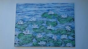 """Large Beautiful """"Water Lily's"""" Original Oil Painting"""