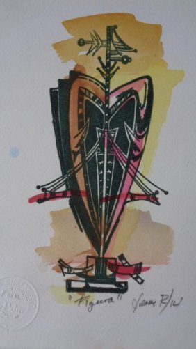 "Jose Mijares (Cuban1921-2004) ""Figura""Engraving"