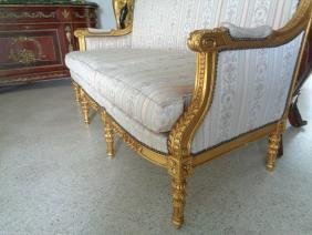 CARVED GILTWOOD SOFA SETTEE UPHOLSTERY