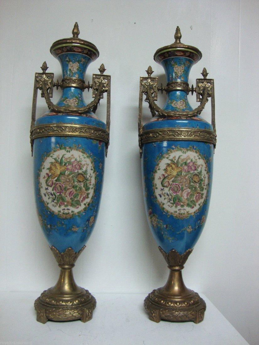 Pair Porcelain Urn Vase Handmade Bronze