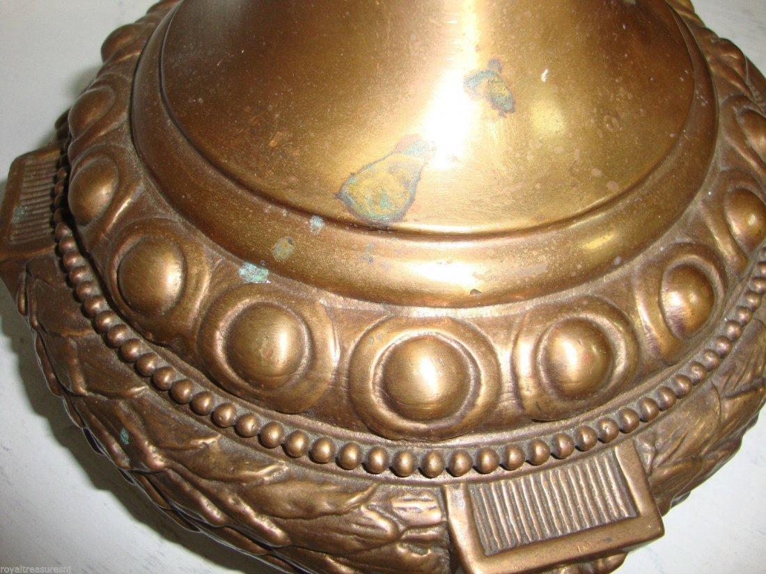Pair Porcelain Urn Vase Handmade Bronze - 2