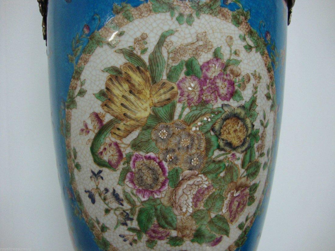 Pair Porcelain Urn Vase Handmade Bronze - 3