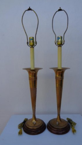 Pair Vintage Bronze Trumpet Wood Base Table Lamp
