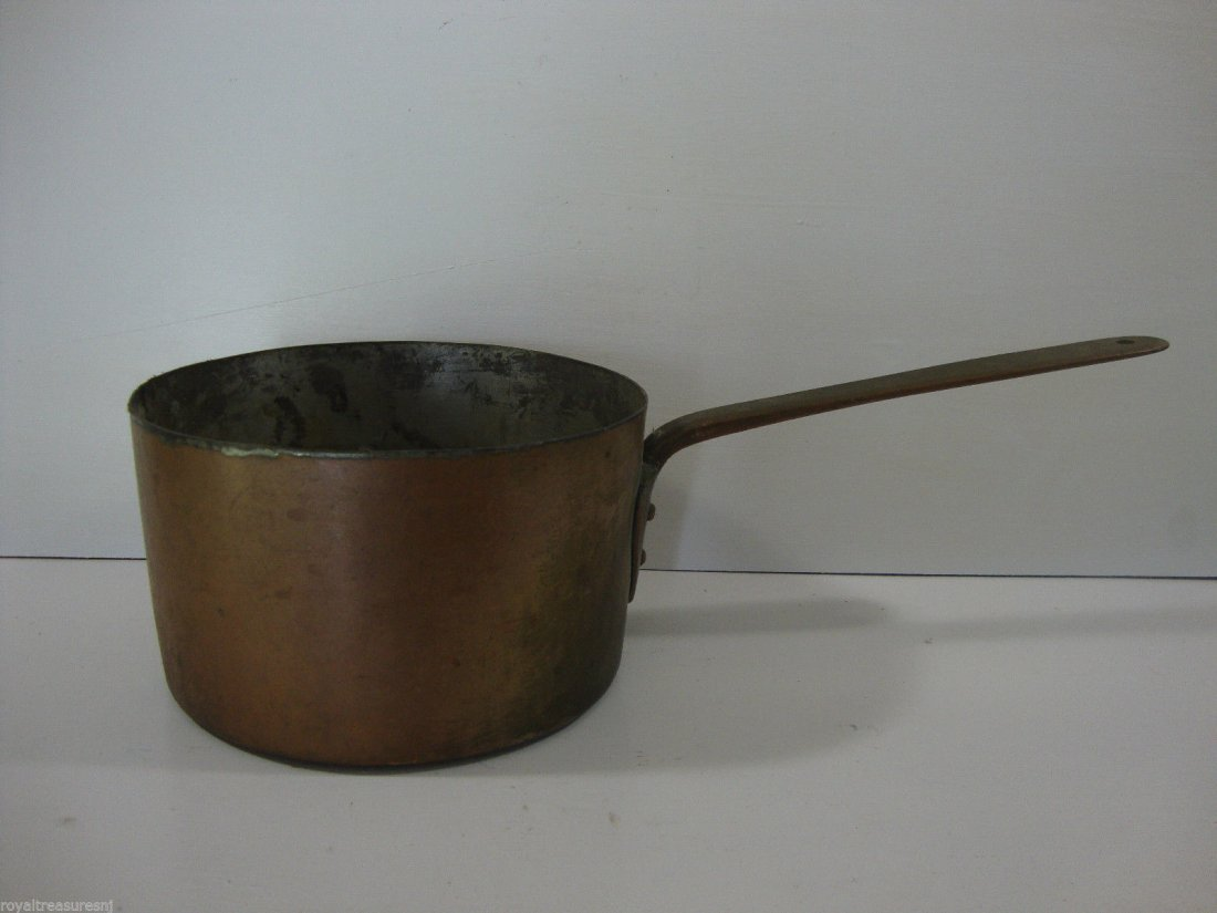 Antique American-1800'Heavy Cooper Brass Cook Pan 17""