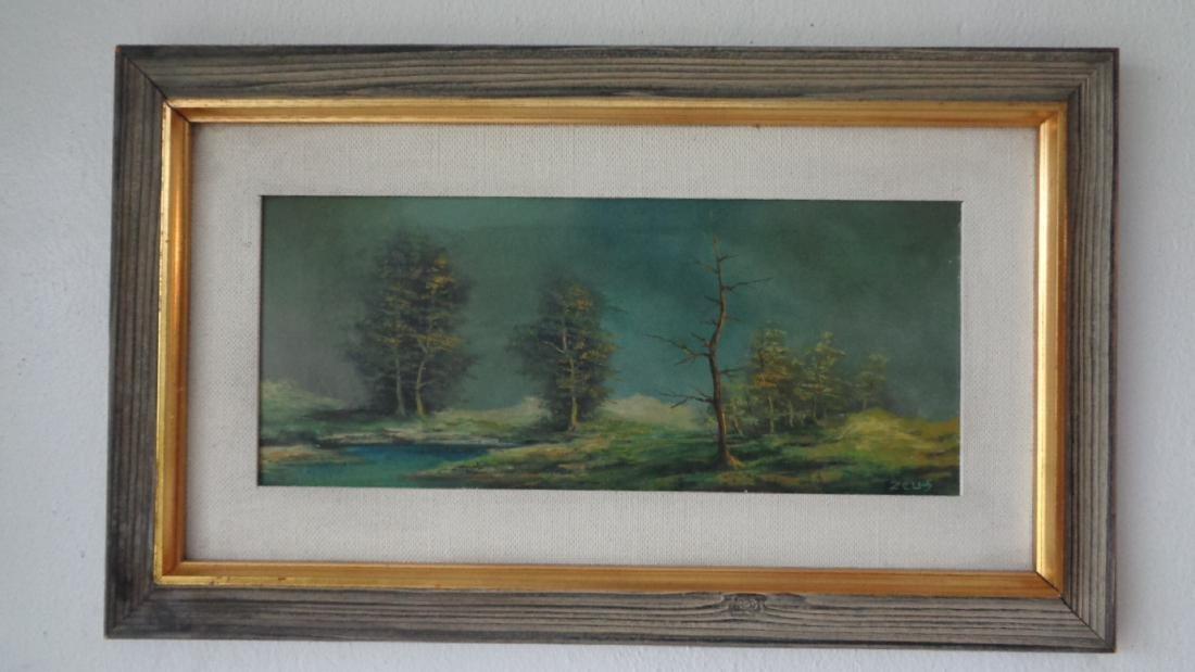 Original Oil Painting Landscaping on Masonite- Signed