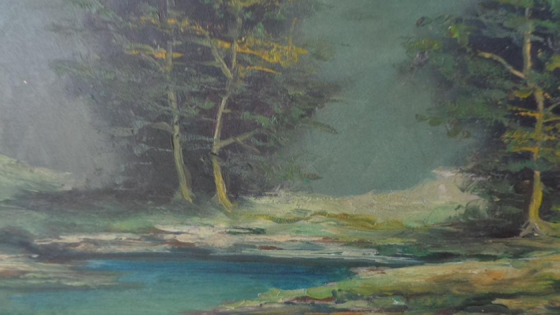 Original Oil Painting Landscaping on Masonite- Signed - 3