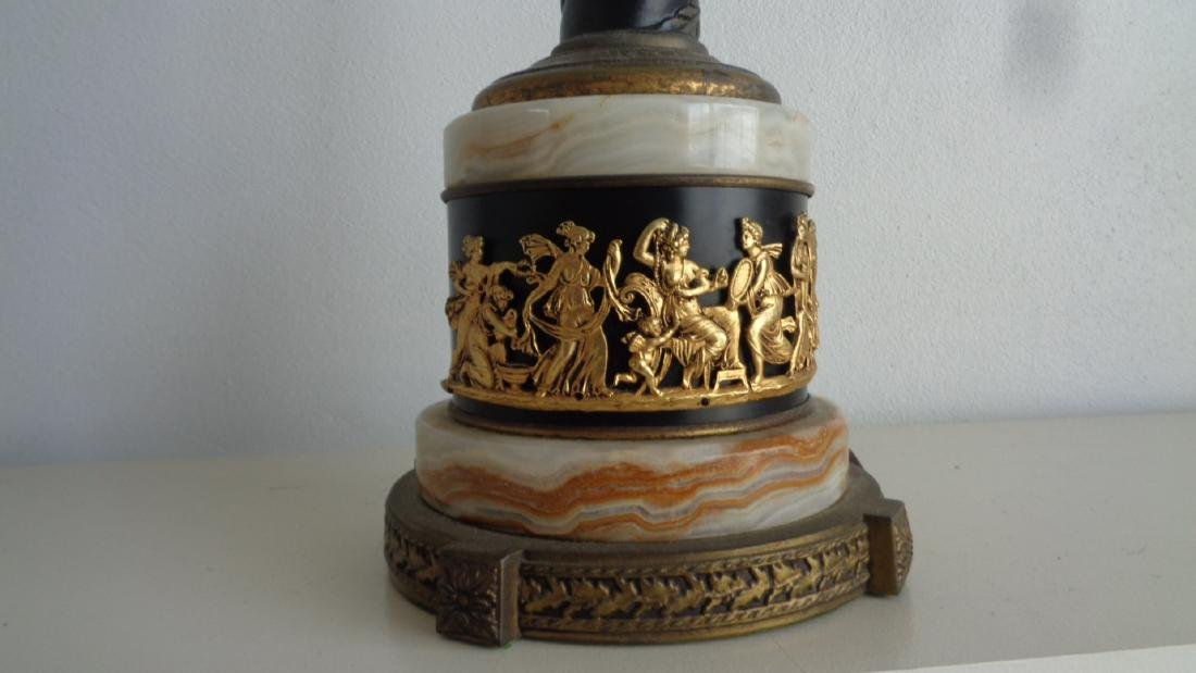 Vintage table Lamp onyx Base Gold Gilded Chariot - 3