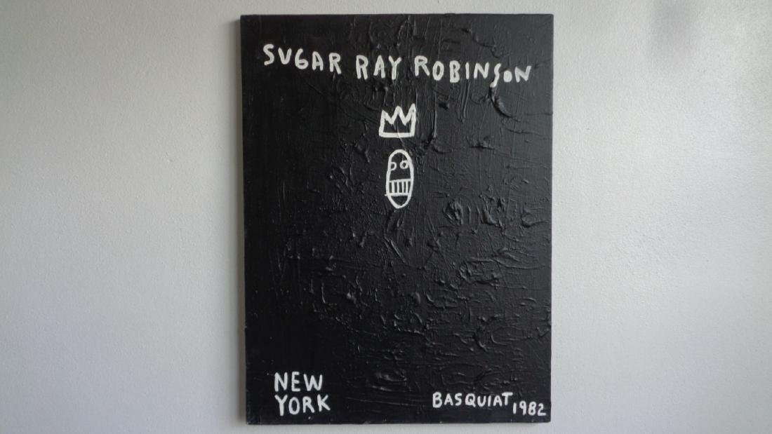 "Basquiat Style""Sugar Robinson 1982 Signed"