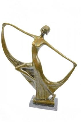 Art Nouveau Bronze Dancer Statue