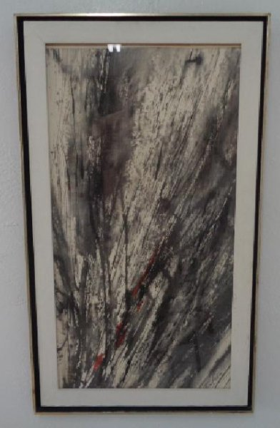 Mid Century Original Abstract Ink signed Painting