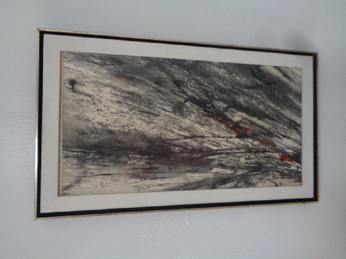Mid Century Original Abstract Ink signed Painting - 2