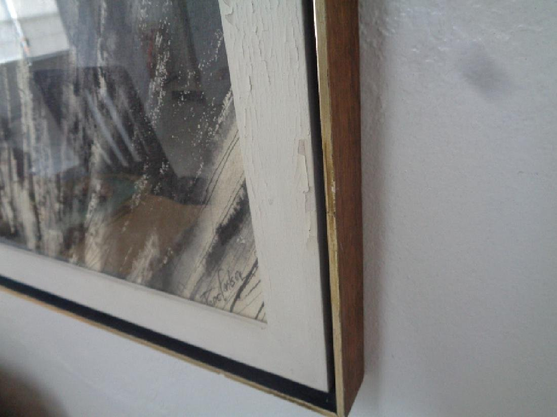 Mid Century Original Abstract Ink signed Painting - 4