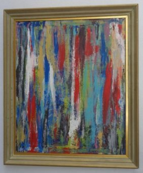 Large Framed Original Abstract Painting Signed
