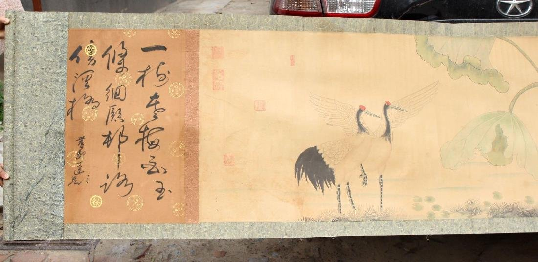 "Large Antique Chinese Hand Painting Scroll. 292"" - 10"