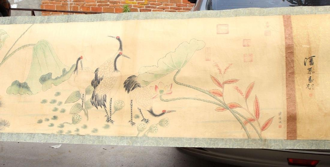 "Large Antique Chinese Hand Painting Scroll. 292"" - 5"