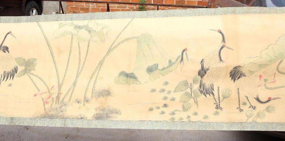 "Large Antique Chinese Hand Painting Scroll. 292"" - 6"