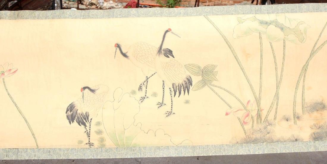 "Large Antique Chinese Hand Painting Scroll. 292"" - 7"