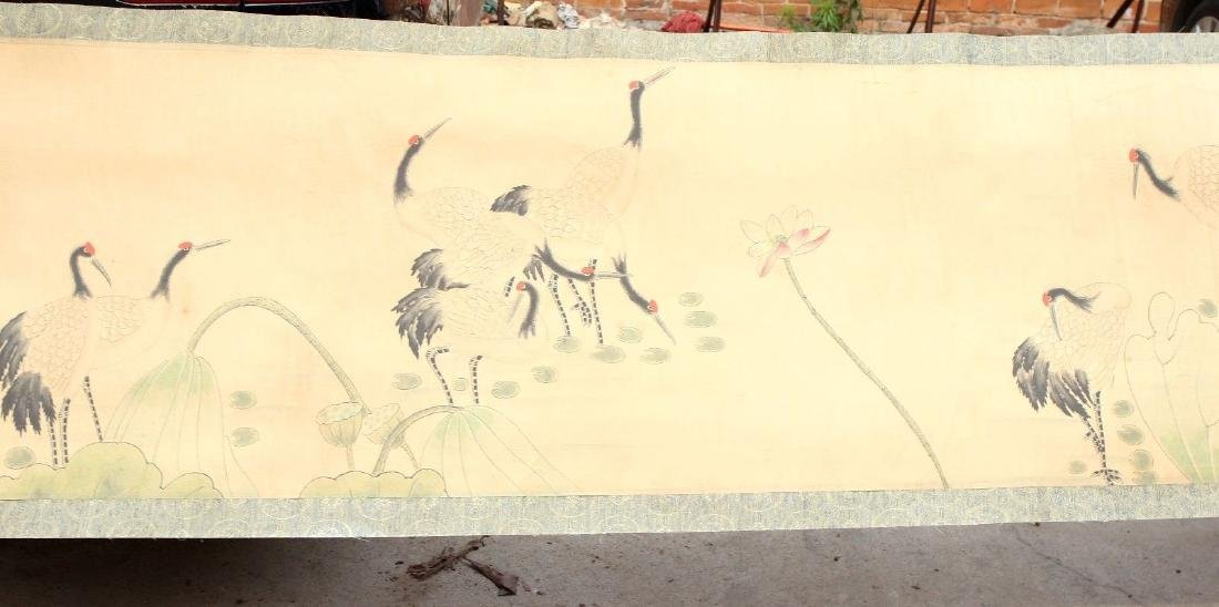 "Large Antique Chinese Hand Painting Scroll. 292"" - 8"
