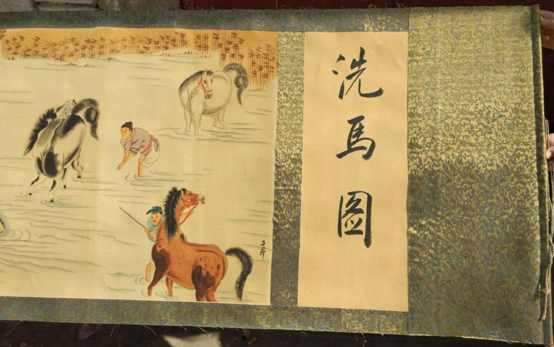 """Large Antique Chinese Hand Painting Scroll. 157"""""""