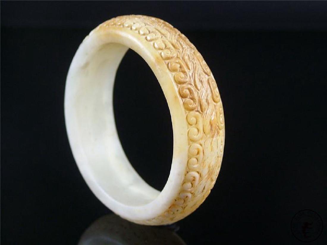 Antique Elaborate Chinese Celadon Nephrite Bracelet