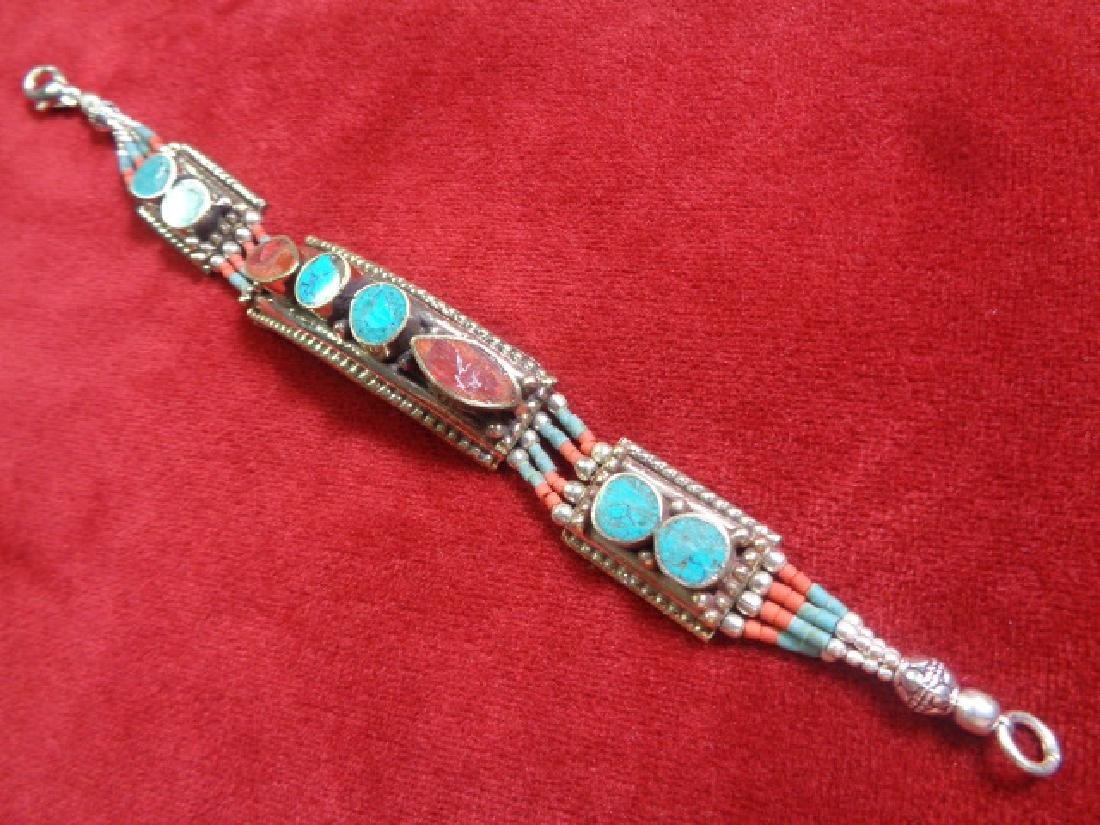 925 Silver Bracelet Turquoise & Coral