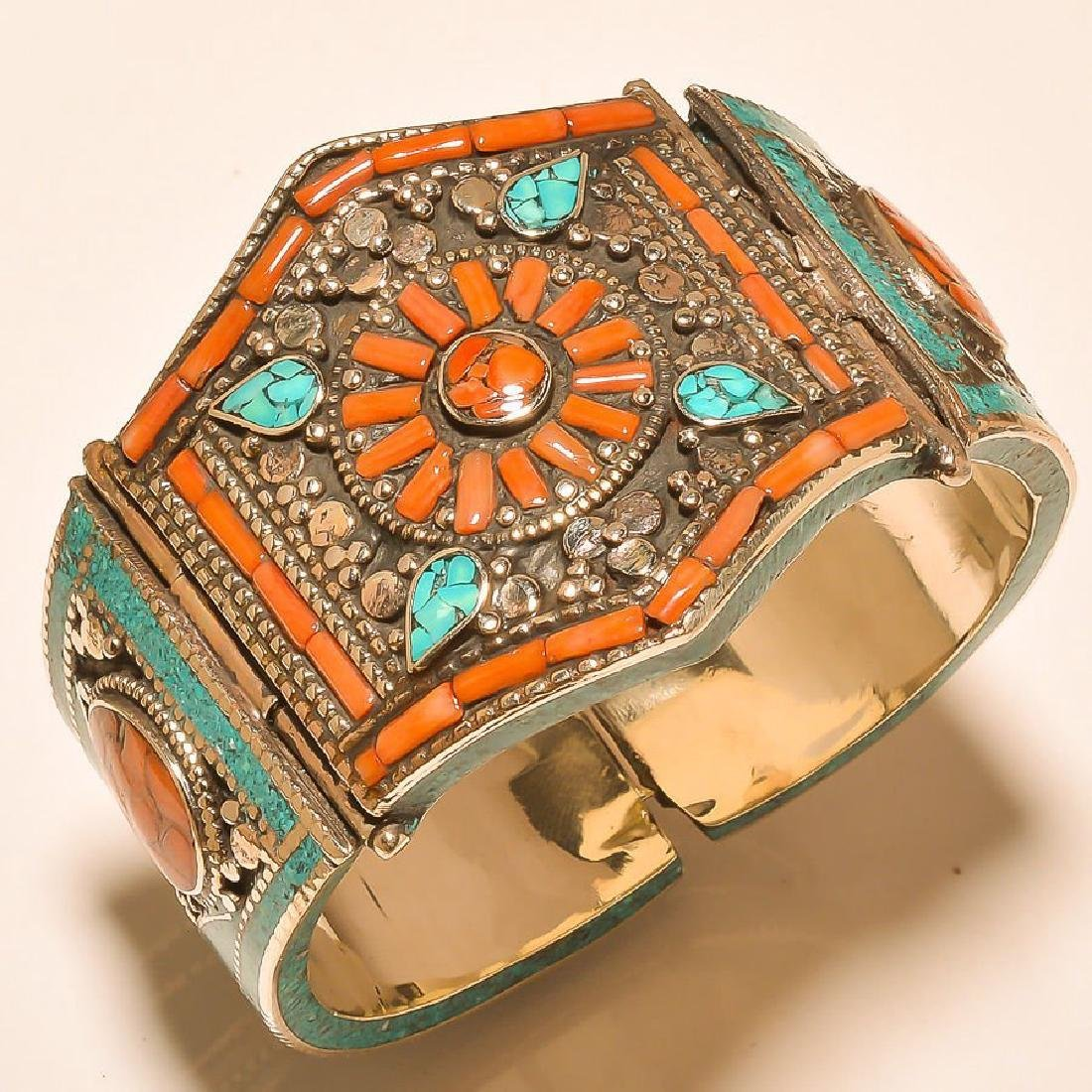 925 Silver Cuff Turquoise & Coral