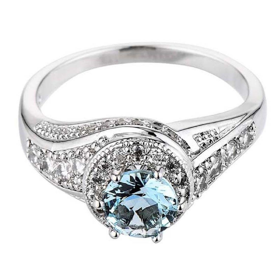 925 Silver Blue Topaz CZ Ring Wedding.Size:9