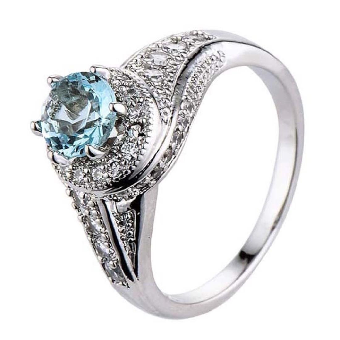925 Silver Blue Topaz CZ Ring Wedding.Size:9 - 2