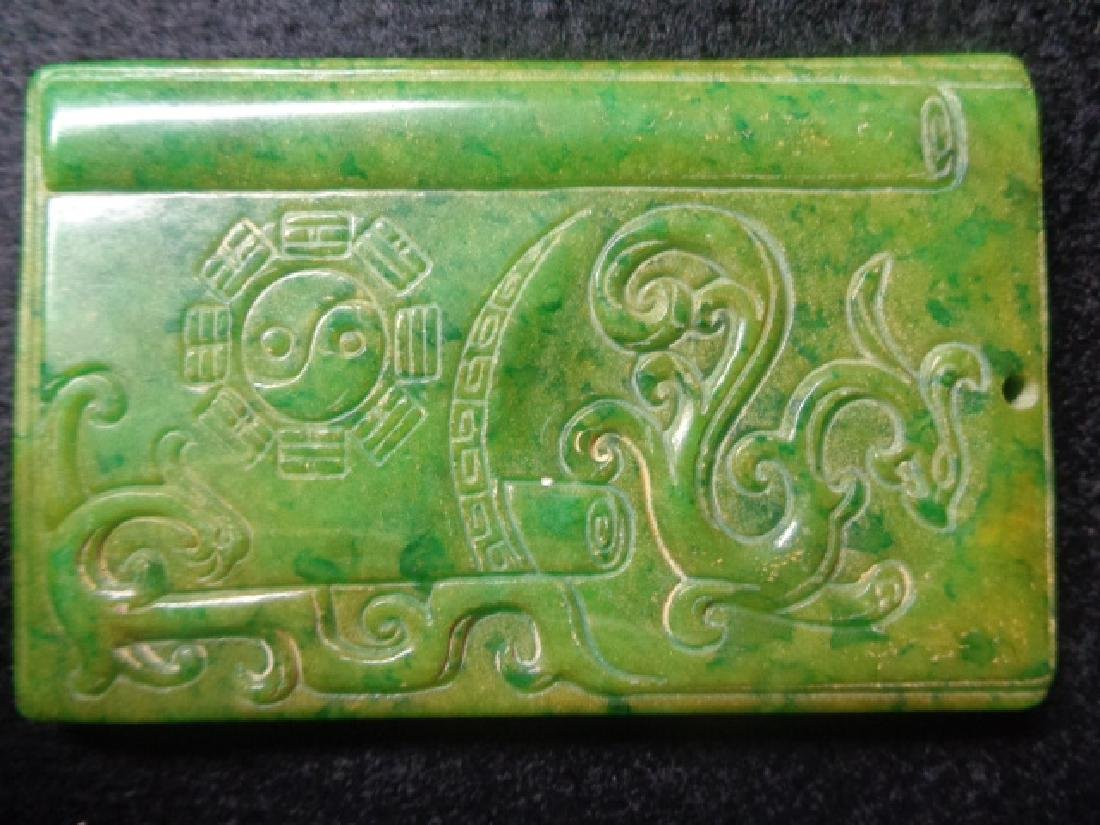 Antique Green Jade Carved Pendant