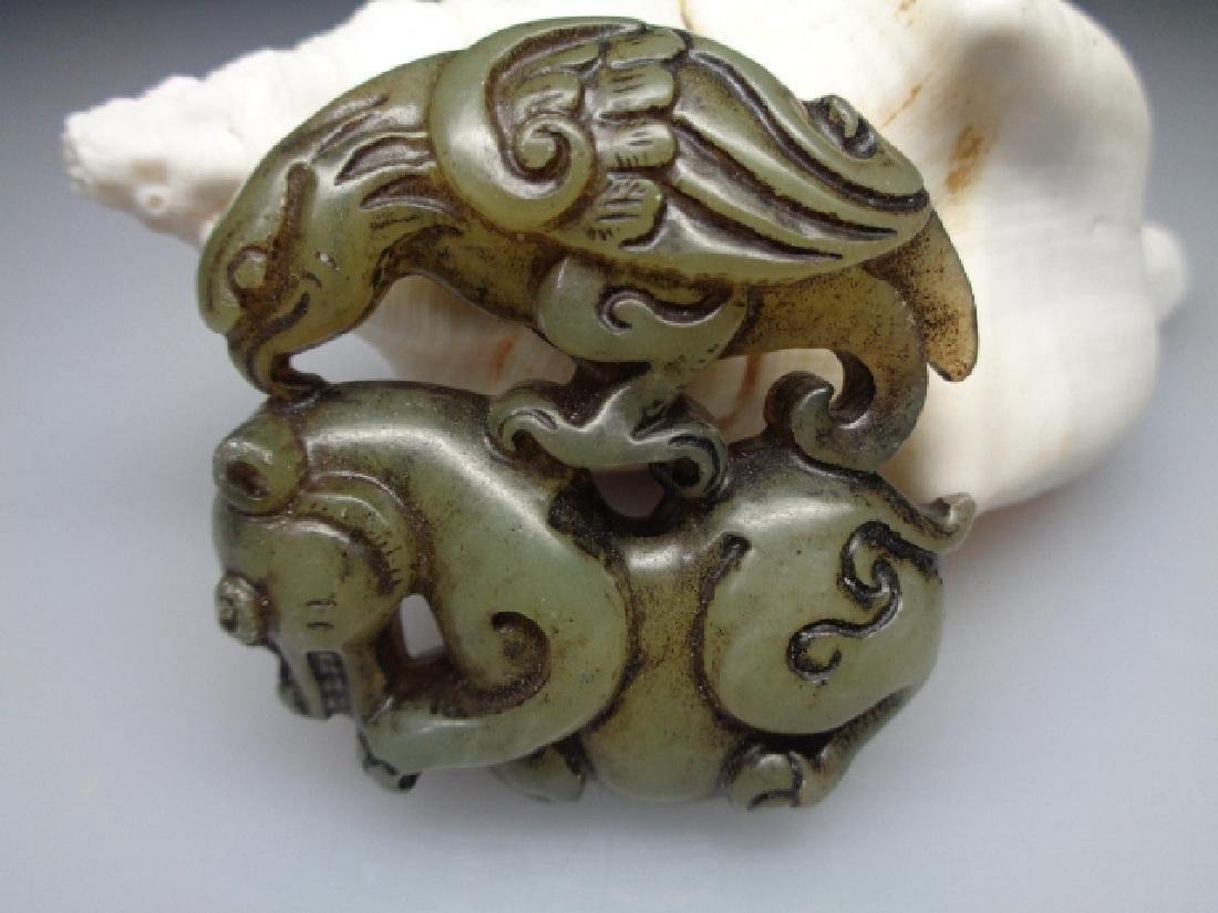 The old Chinese natural jade eagle and bear pendant