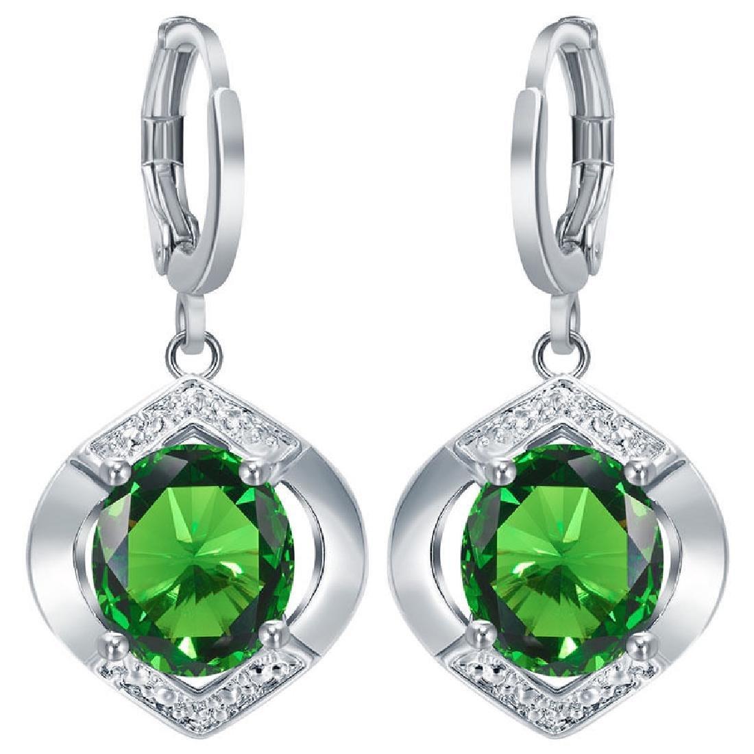 925 Silver CZ Emerald Ear Stud Dangle Hoop Earrings