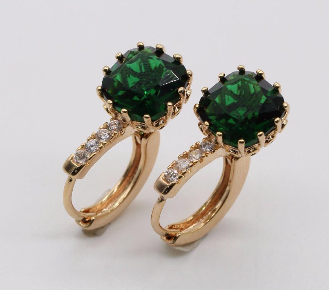 Emerald 18k Gold Plated White Zircon Earring