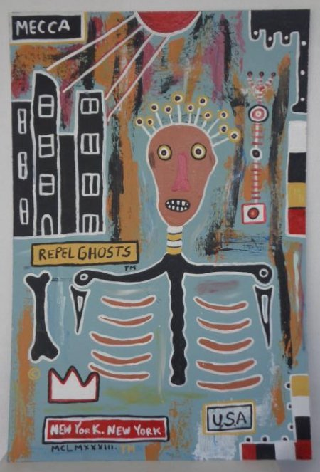 Original Street Art  Painting on Masonite Basquiat N Y