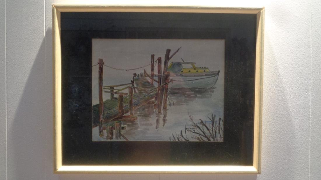 Original Watercolor Painting Fishing Boat Docked