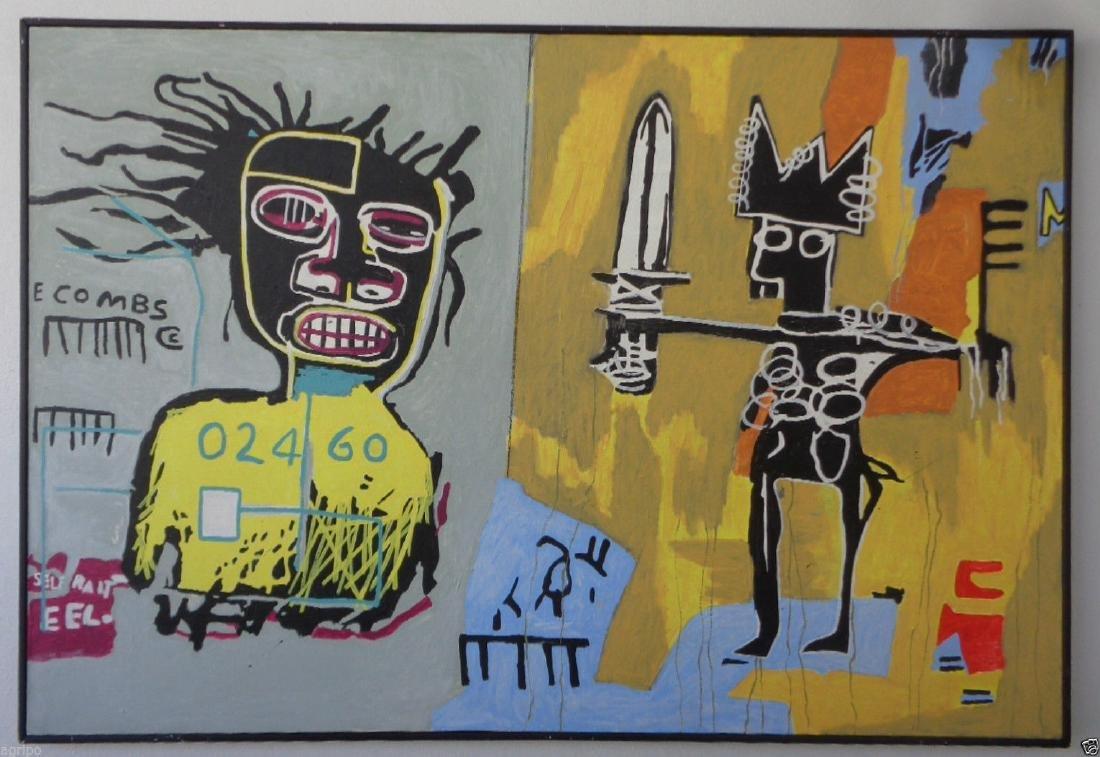 Original Street Art Urban Painting on Canvas Basquiat N