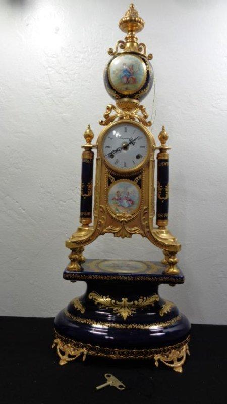 Large Porcelain Cobalt Gilted Bronce Clock-Key