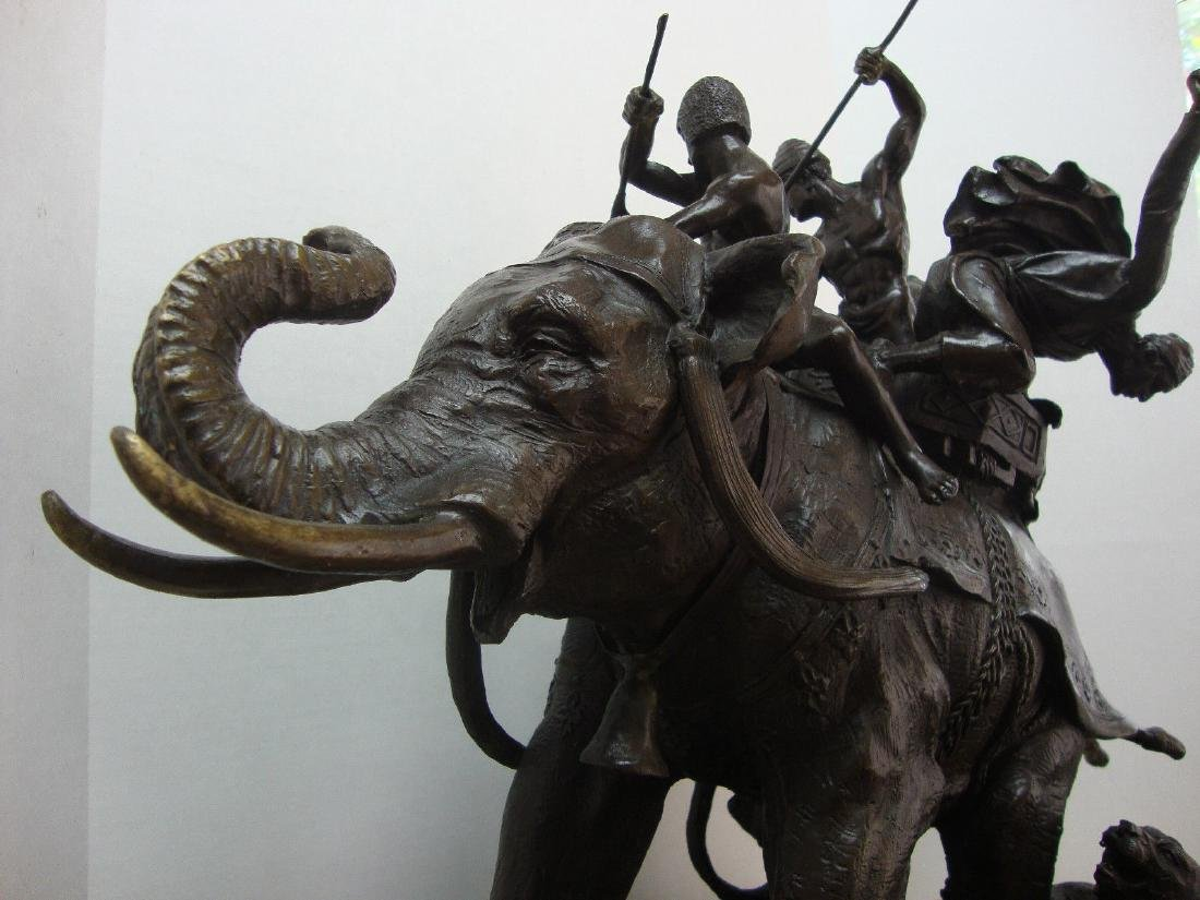 Bronze Elephant Signed and Foundry Stamp