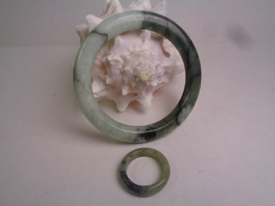 Grade A Natural Jade Bangle & Ring-10