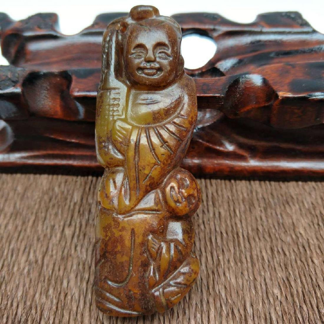 Antique Chinese Hand-Carved Jade Sculpture