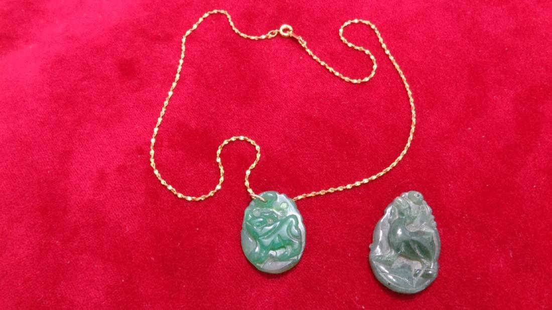 Lot of 2 Vintage Jade  Pendant