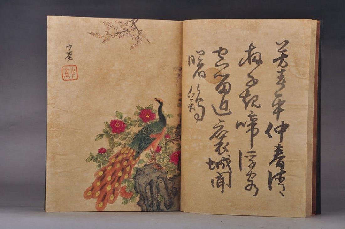 Chinese Hand-Painted Calligraph & Animals  Signed Book - 2